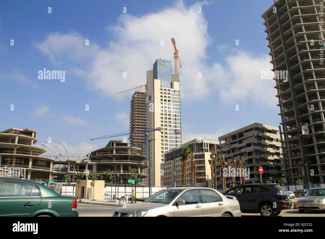 Sul lato orientale di Abdali Progetto in Amman mostra; da destra a sinistra; Abdali Gateway, le altezze e Clemanceau Foto Stock
