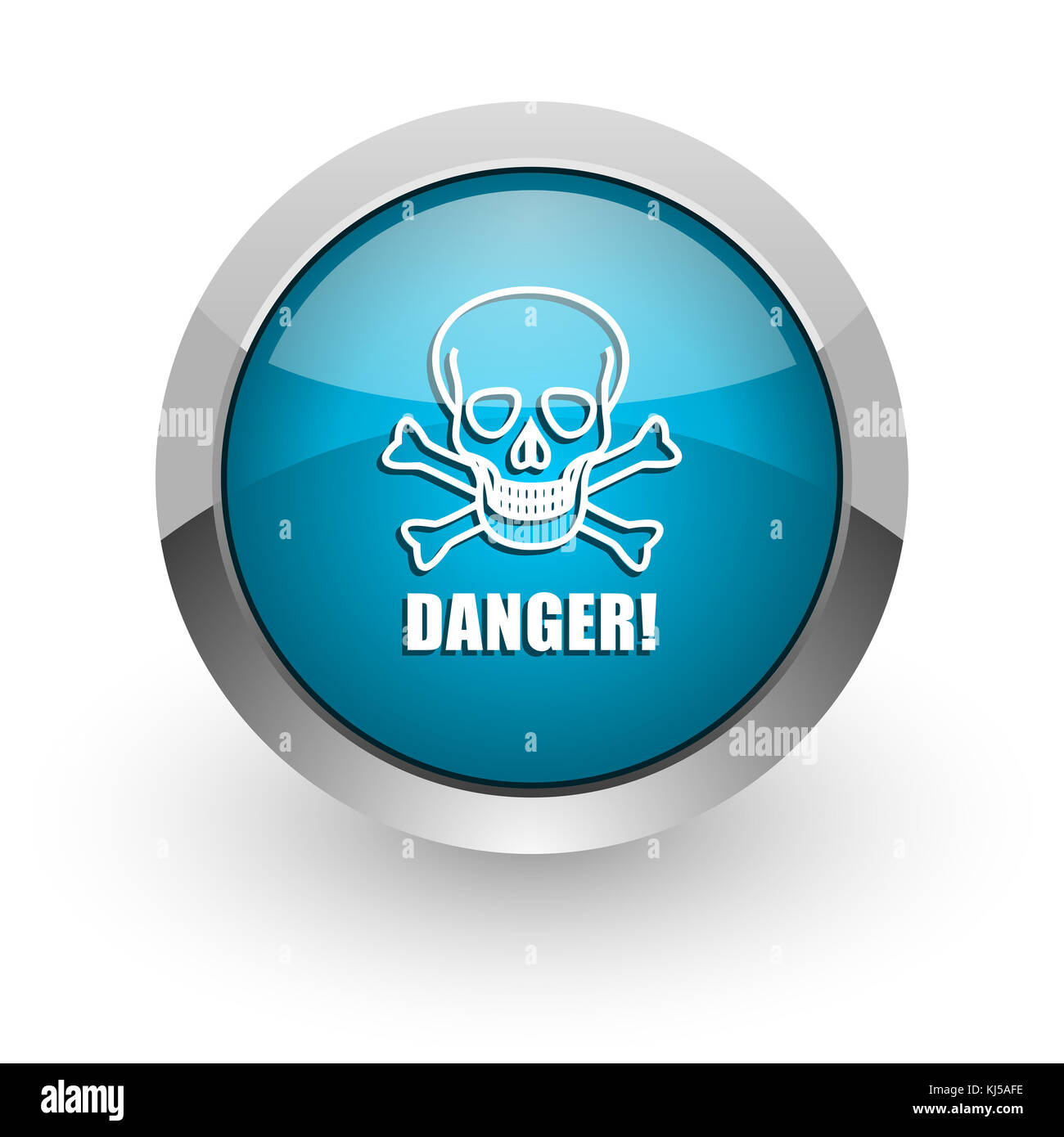 Pericolo Cranio Blu Argento Metallizzato Confine Chrome Web E