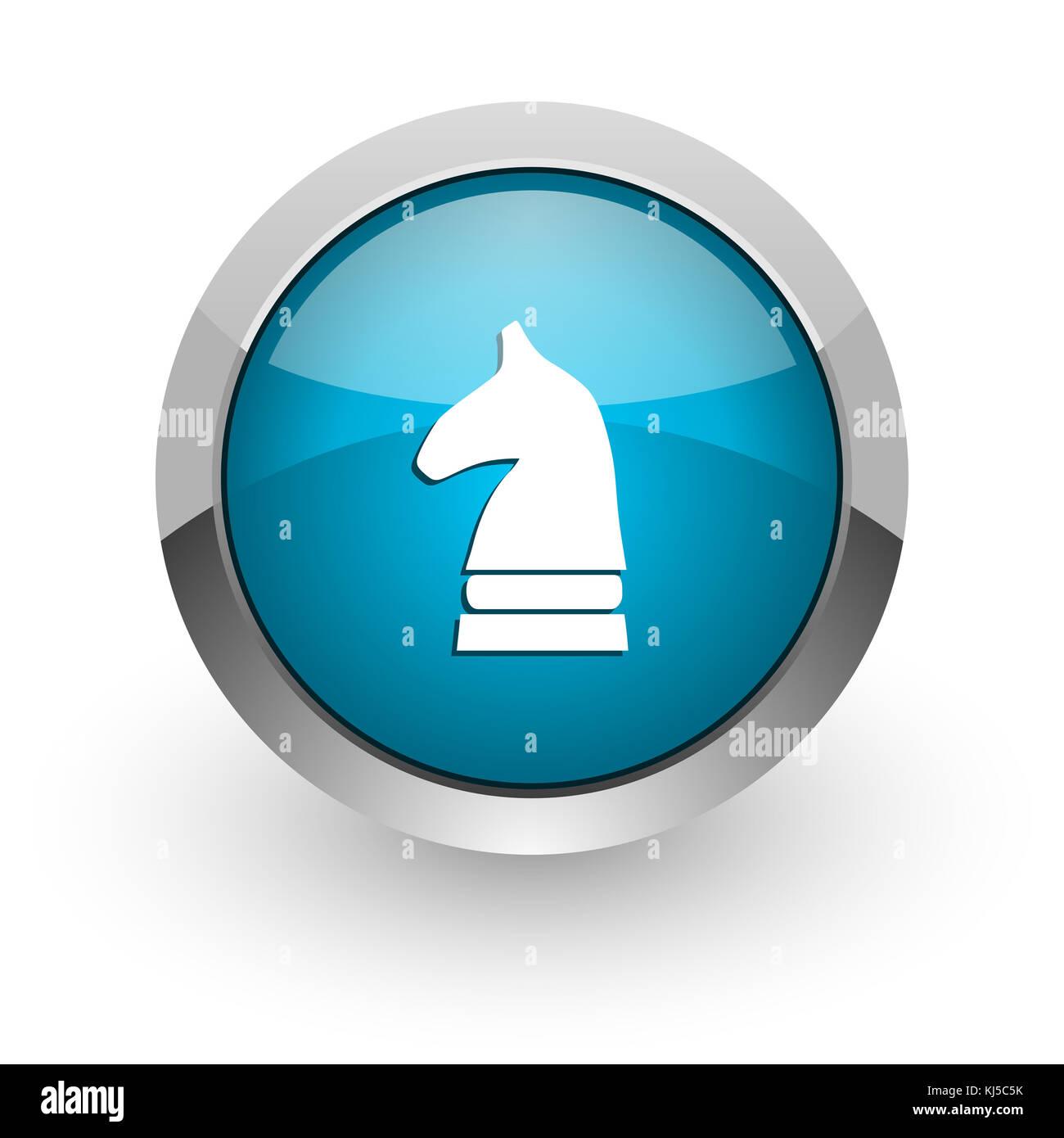 Cavallo Di Scacchi Blu Argento Metallizzato Confine Chrome Web E