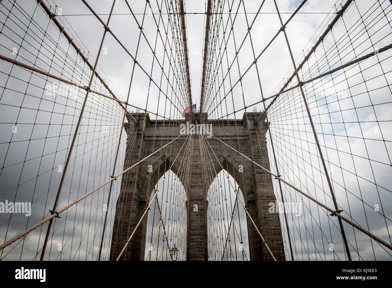 Ponte di Brooklyn, New York City close up dettagli architettonici Immagini Stock