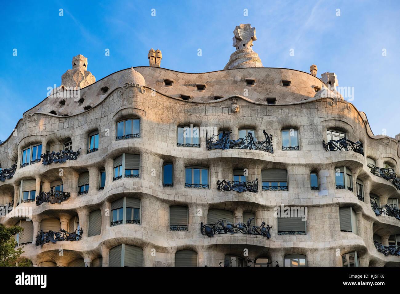 La Pedrera, Casa Milà house progettata da Antonio Gaudi, Barcelona, Spagna. Immagini Stock