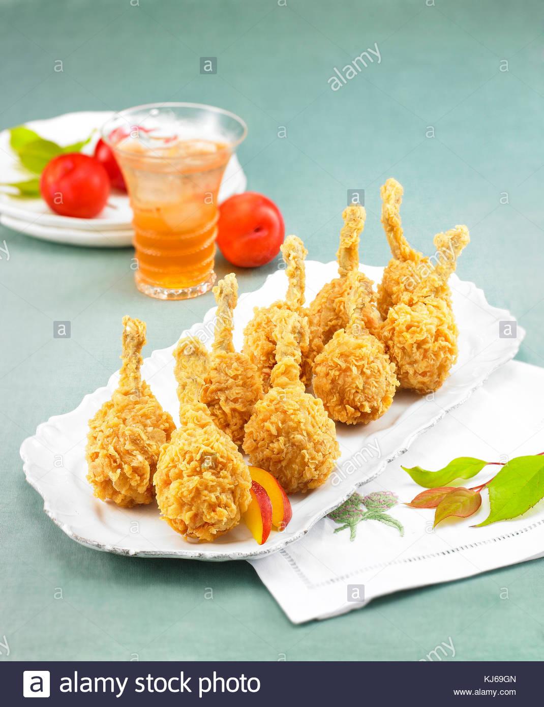 Snack fritto di pollo cibo Immagini Stock