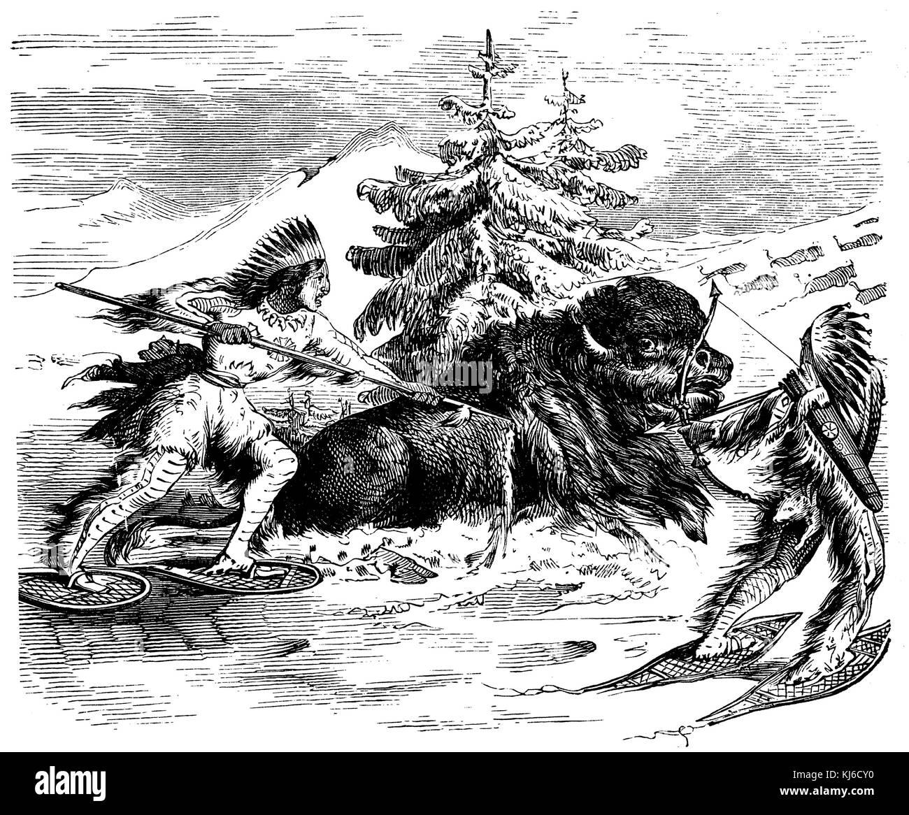 Il bufalo indiano hunt in inverno (indianische büffeljagd im inverno) Immagini Stock