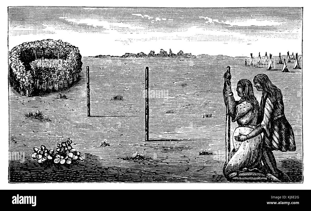 Capanna del parto del comanche indiani. Dopo engelmann (gebärhütte der comanche-indianer. eine comanche Immagini Stock