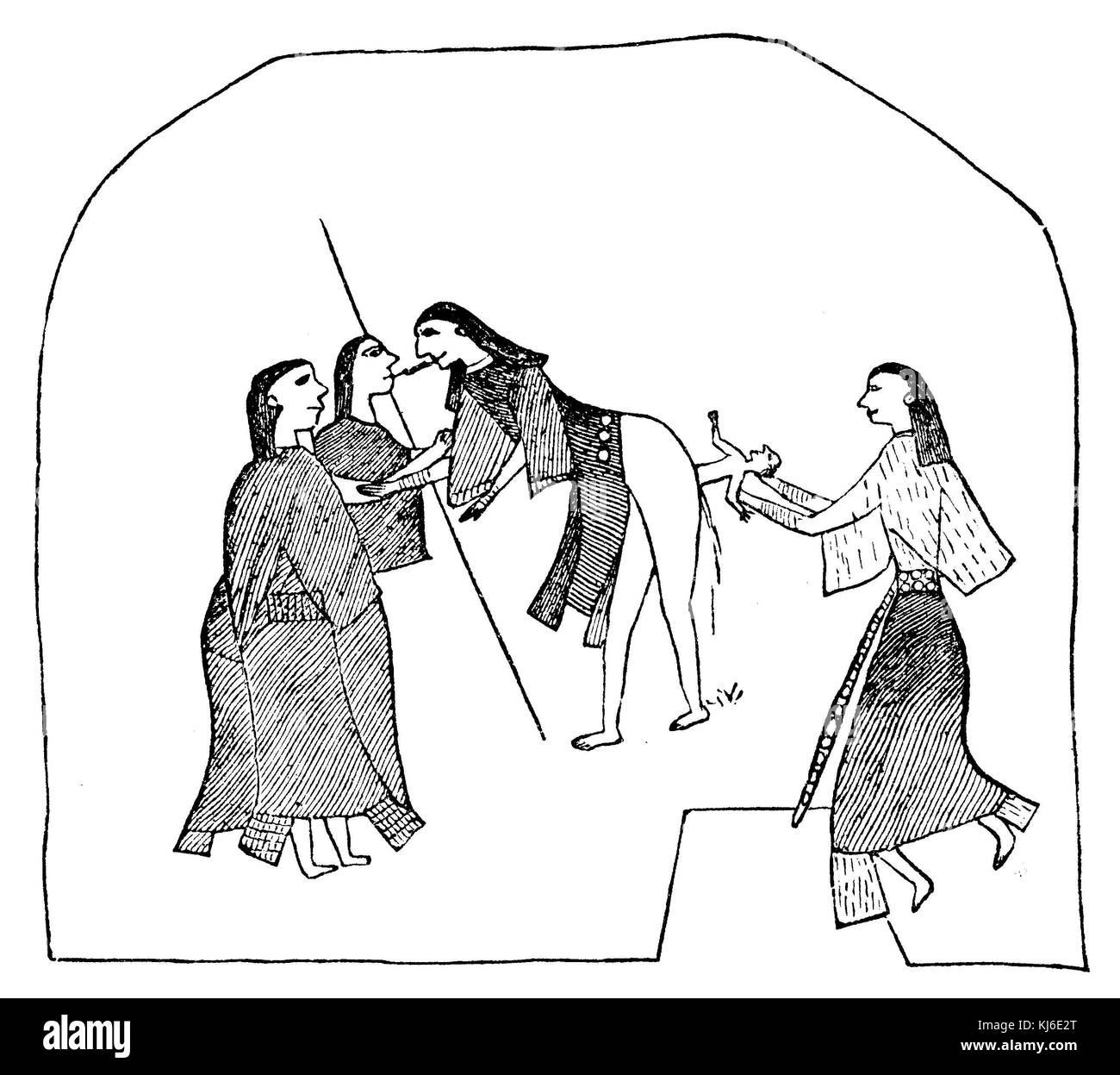 Kiowa indian alla nascita, curvò in piedi sorretto da un bastone. la levatrice brucia la sua emetico in bocca. Immagini Stock