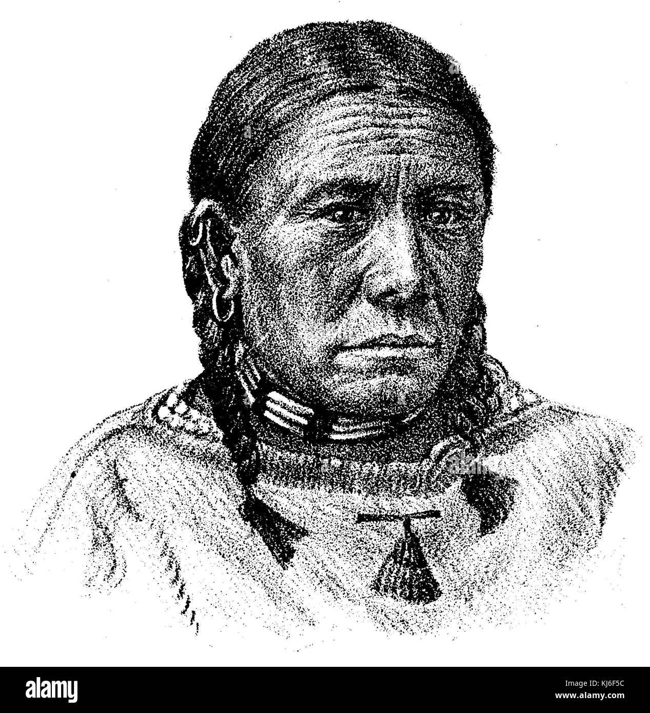 Donna anziana della tribù dei brulé indiani Sioux (ältere frau vom stamm der brulé-sioux-indianer) Immagini Stock