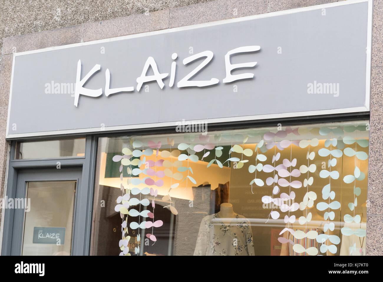 Klaize negozio di abbigliamento, Kirkwall, isole Orcadi Scozia, Regno Unito Immagini Stock