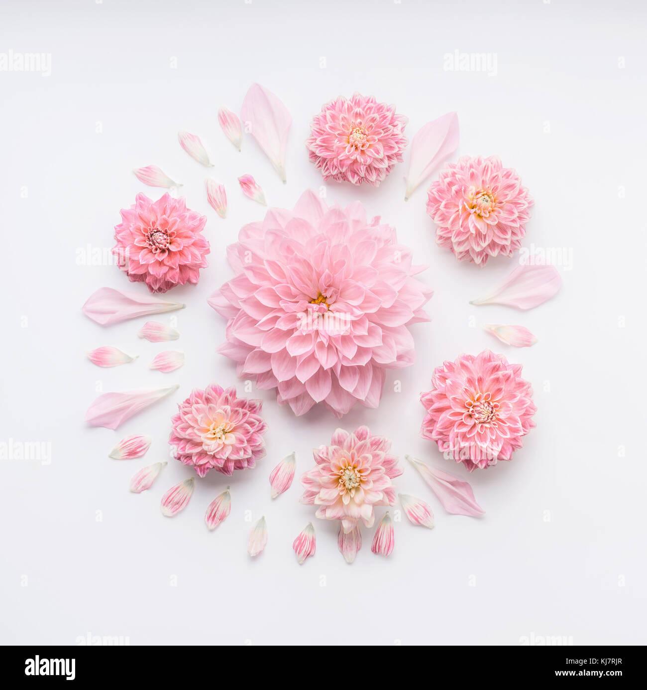 Round Rosa Pallido Composizione Di Fiori Con Petali Di Colore Bianco