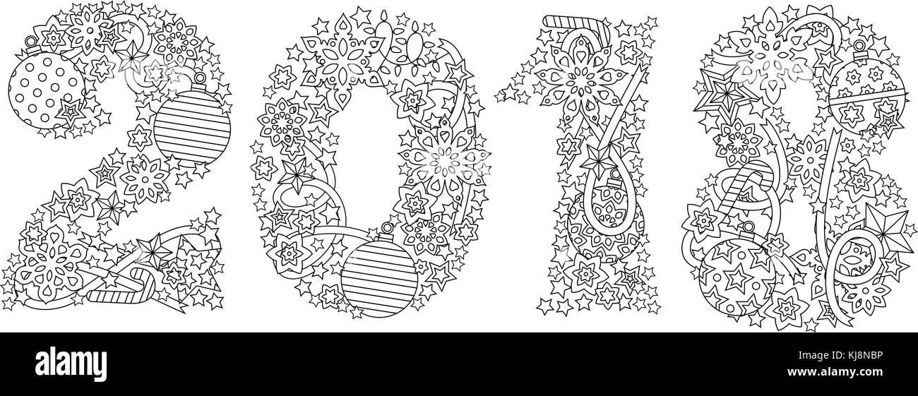 Felice Anno Nuovo Numero 2018 Isolati Su Sfondo Bianco Zentangle