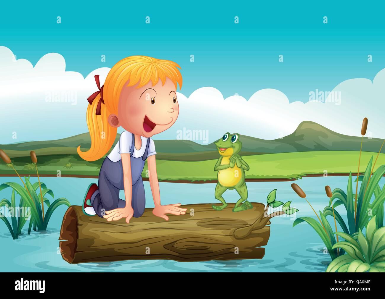 Illustrazione di una ragazza con una rana nel fiume illustrazione