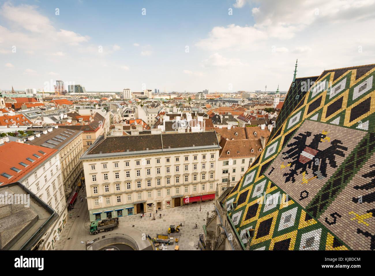 Vienna, Austria - 28 agosto: st. di Santo Stefano e la veduta aerea della città di Vienna, Austria il 28 agosto Immagini Stock