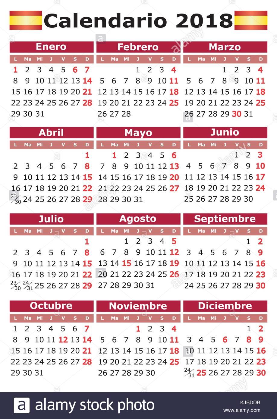 Calendario Con Giorni Festivi.Calendario 2018 Verticale Calendario Spagnolo Con Giorni