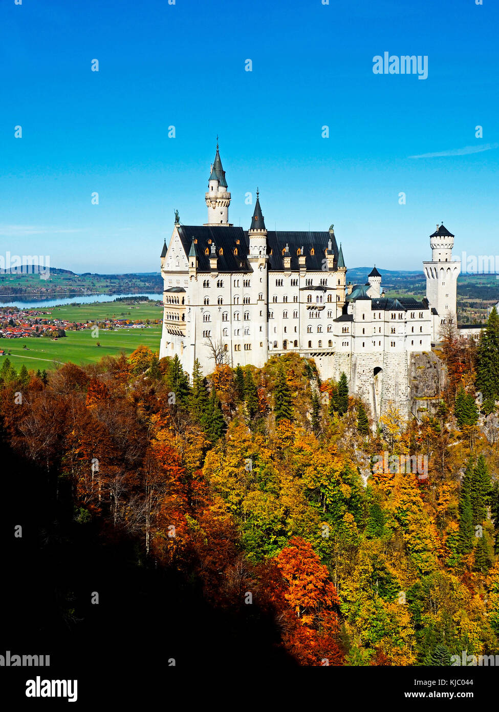 Pazza re Ludwig castello Neuschwanstein in Baviera, Germania. Immagini Stock