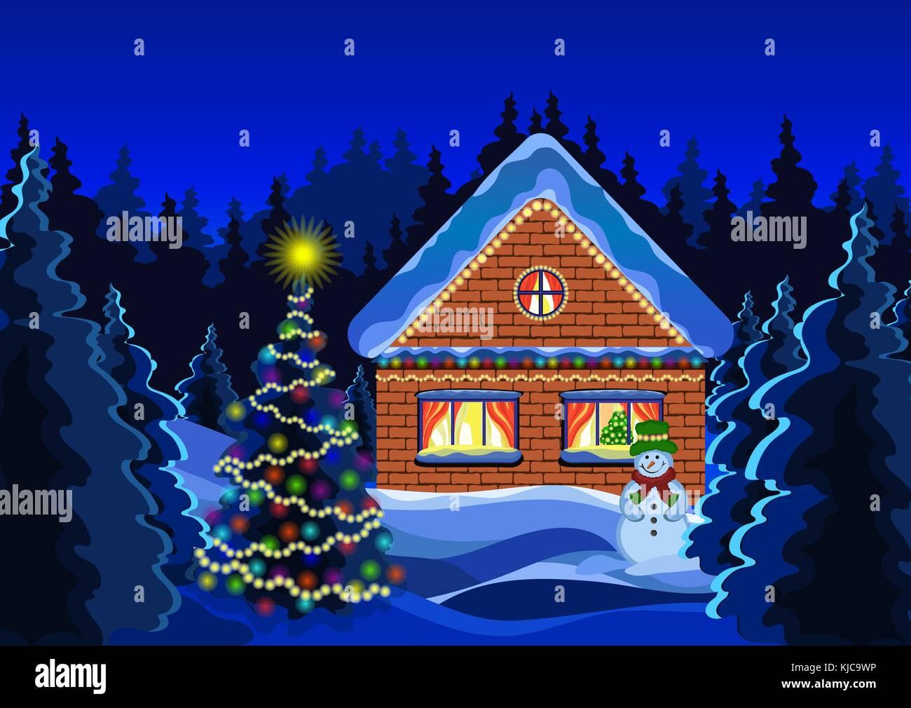 In Inverno Il Paesaggio Di Natale Disegno Vettoriale Notte Neve
