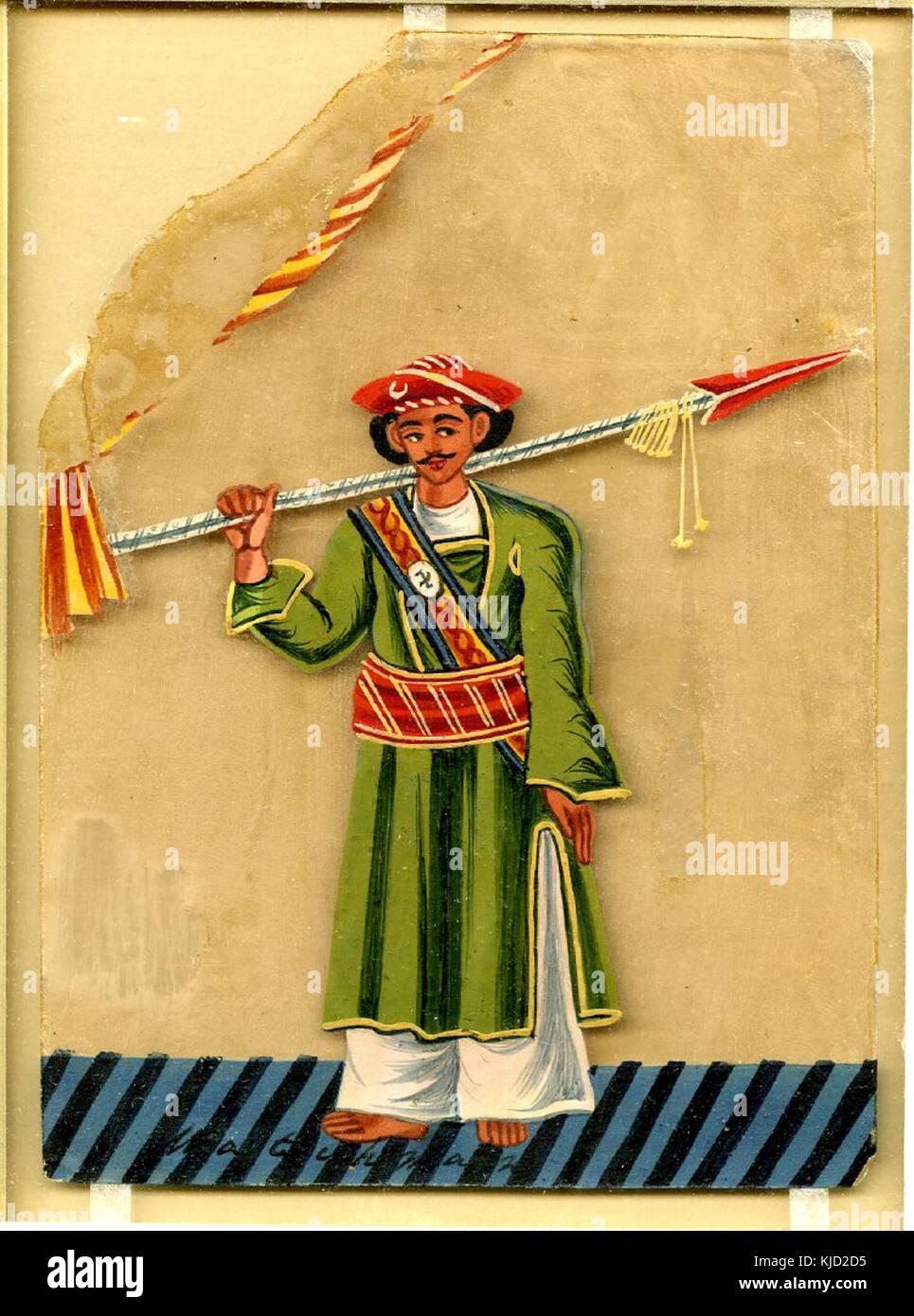 Gouache pittura su mica di una guardia o funzionario che detiene una lancia sopra la sua spalla destra Immagini Stock