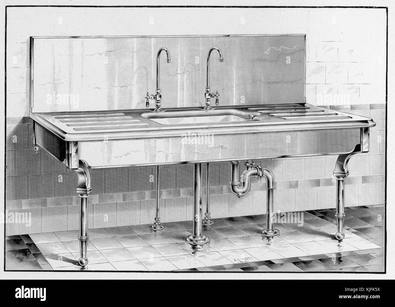 Una illustrazione di un jl mott iron works catalogo con un ampio lavabo, il lavandino singolo lavello dotato di Immagini Stock