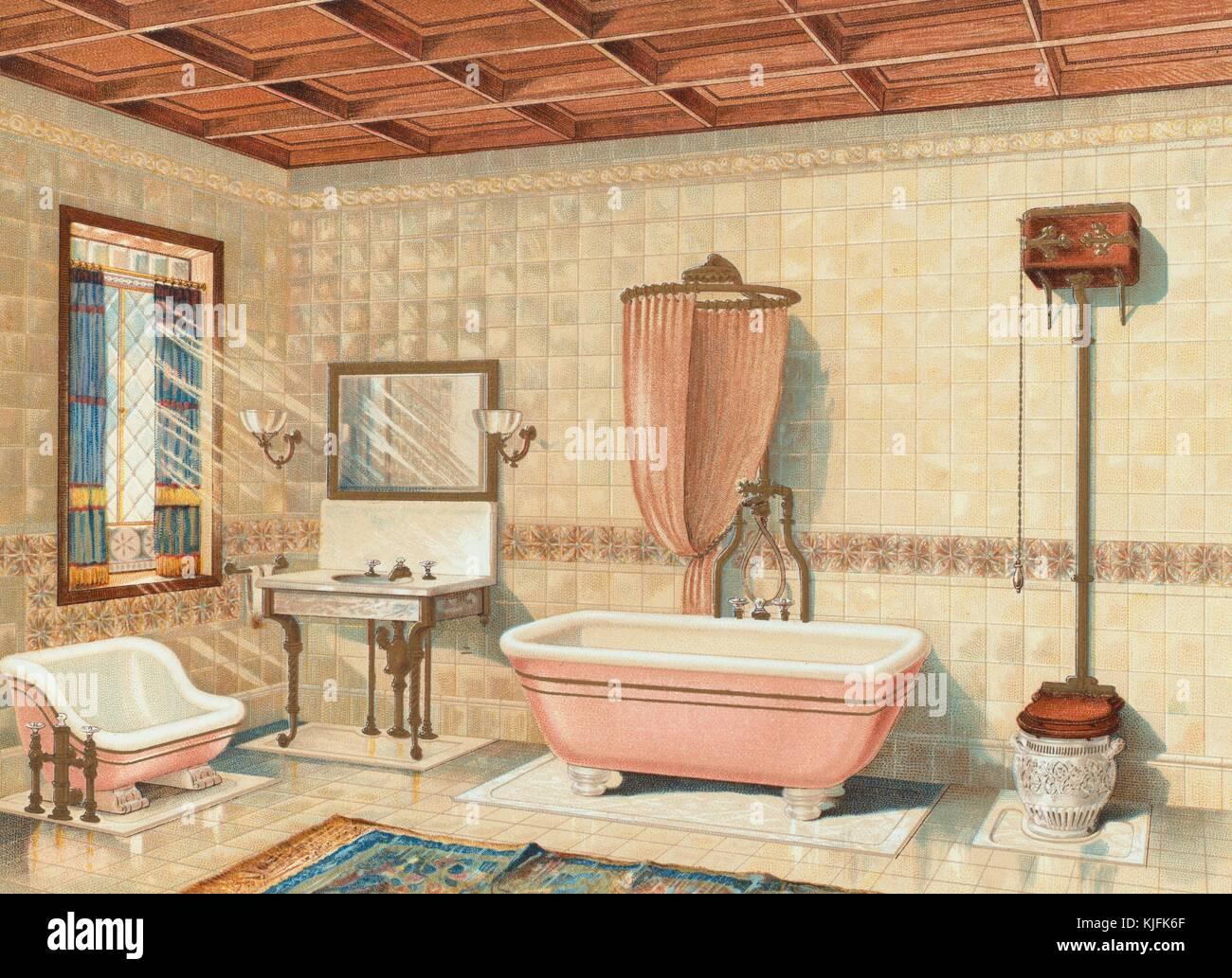 Una illustrazione dalla mott iron works catalogo il bagno ha