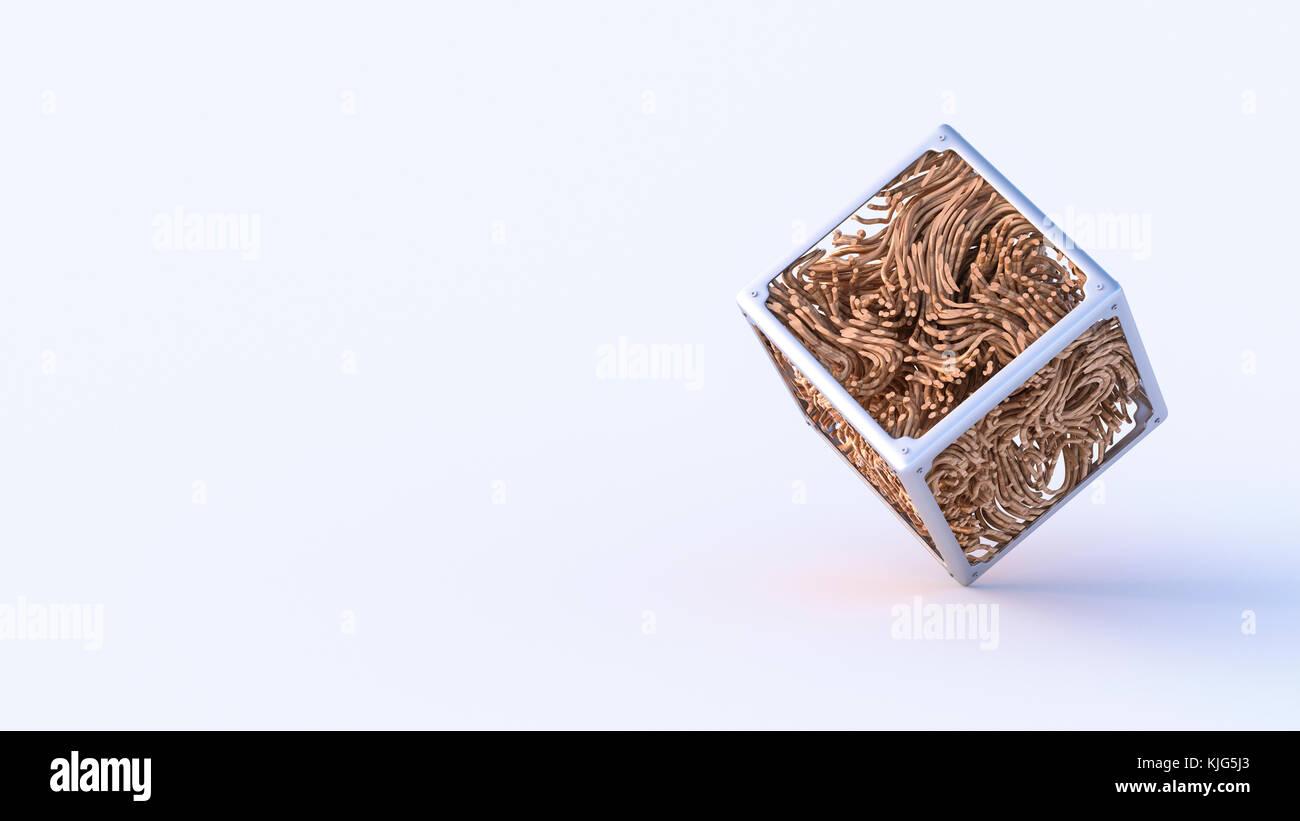 Abstract di metallo e legno cube, rendering 3D Immagini Stock