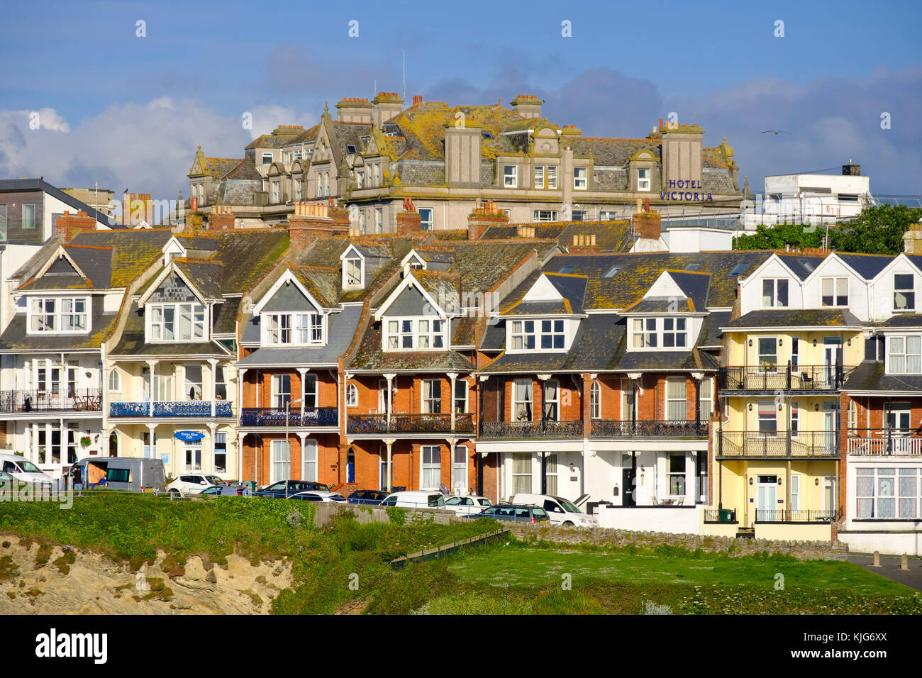Wohnhäuser, Newquay, Cornwall, Inghilterra, Großbritannien Immagini Stock