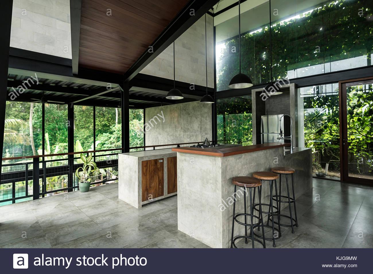 Moderna cucina minimalista nel design contemporaneo casa con ...