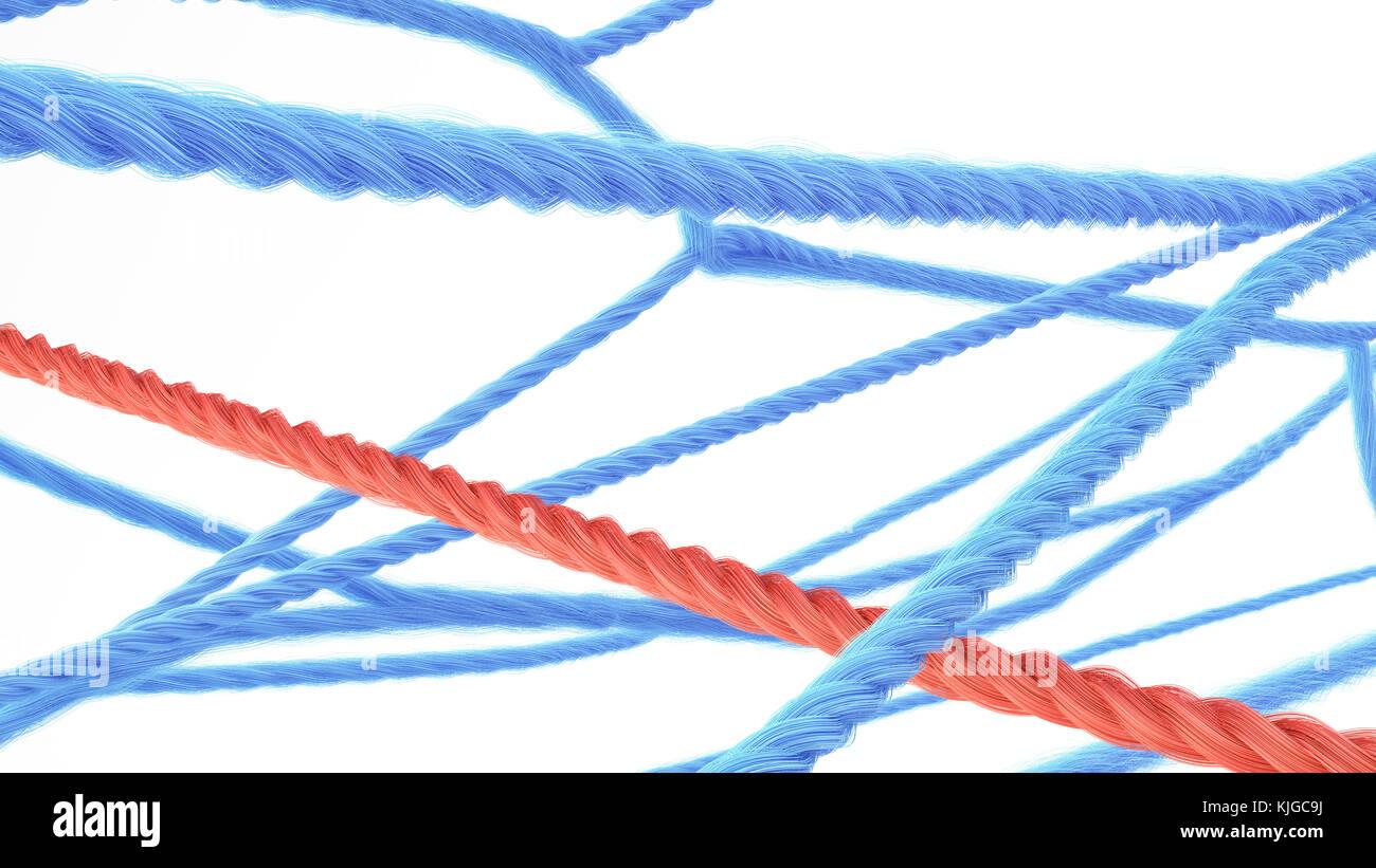 Rete di stringhe, rendering 3D Immagini Stock