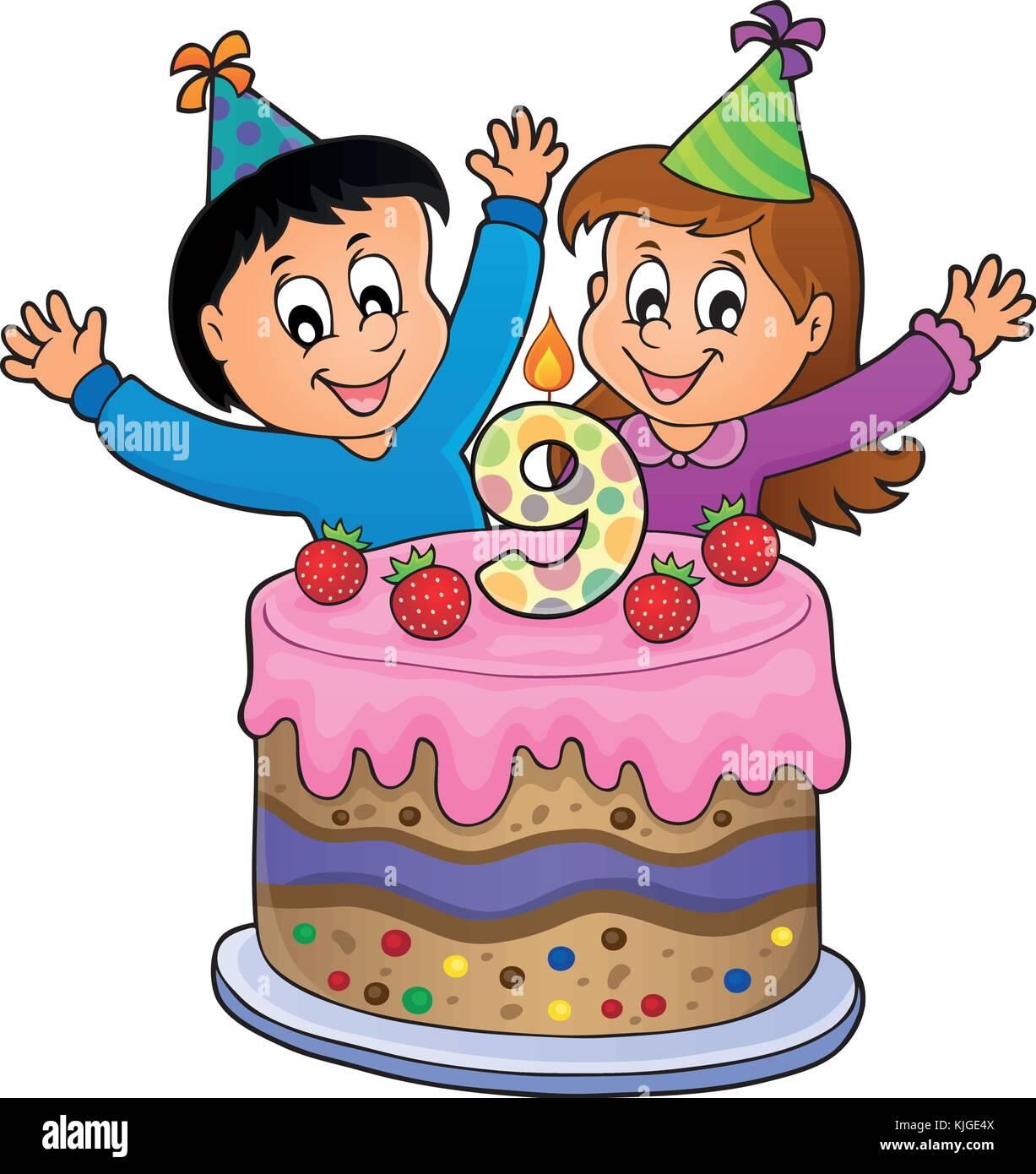 Auguri Di Buon Compleanno 9 Anni.Buon Compleanno Immagine Per 9 Anni Eps10 Illustrazione