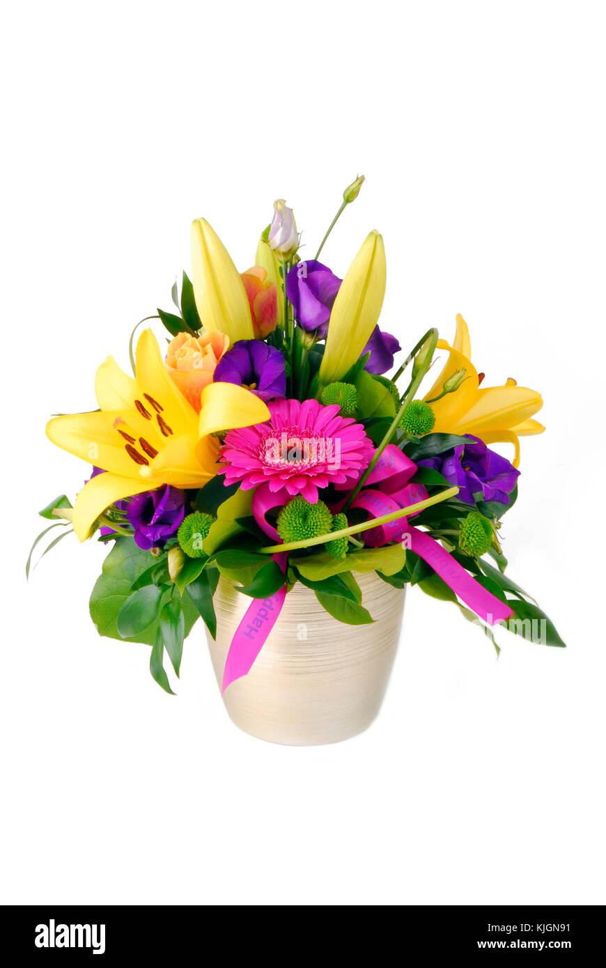 Bouquet Di Fiori Buon Compleanno Isolato Su Bianco Foto Immagine
