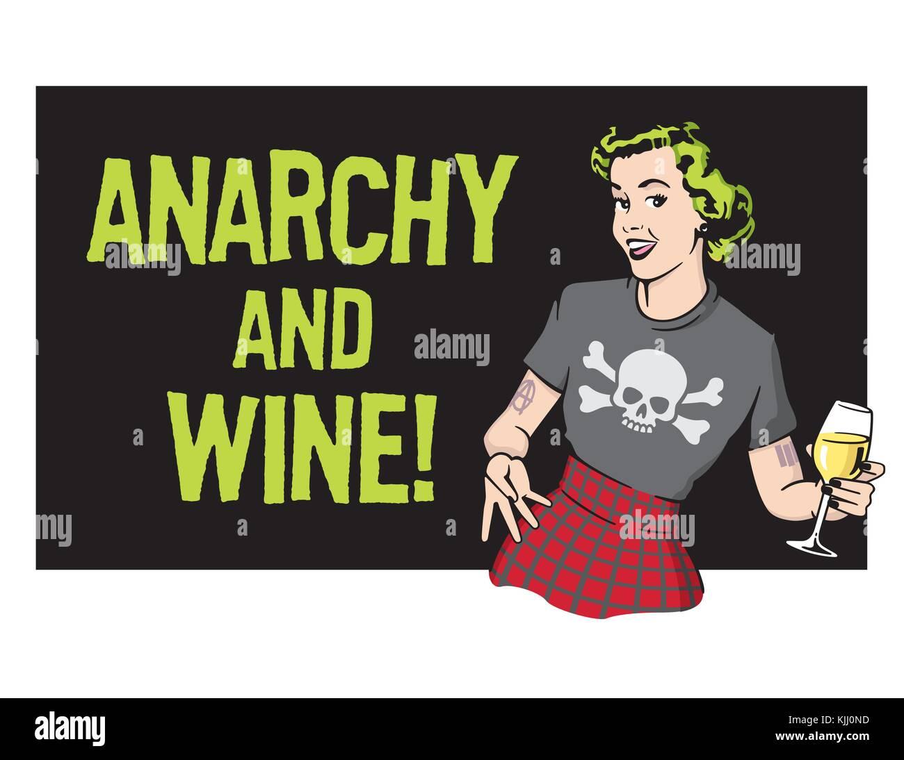 Anarchia e vino punk rock casalinga vettore Retrò design illustrazione  casalinga indossando il punk rock vestiti e bere il vino. 6389e7bd4153