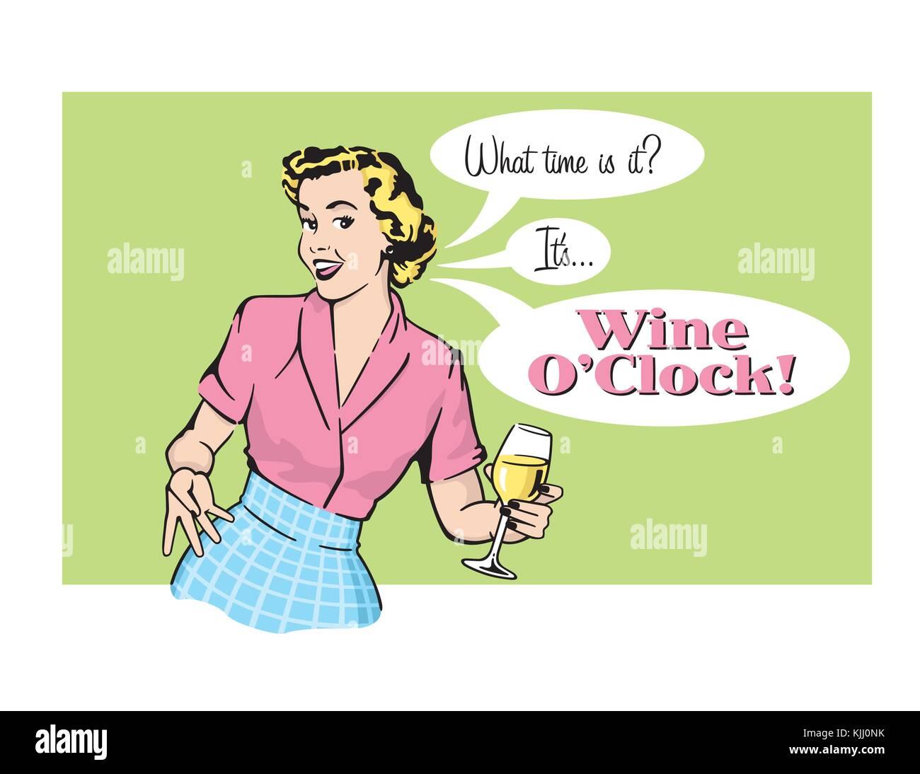 Vino oclock casalinga retrò vettore grafico. illustrazione vettoriale di  sassy donna retrò annunciando Immagini Stock f724ccce4f03