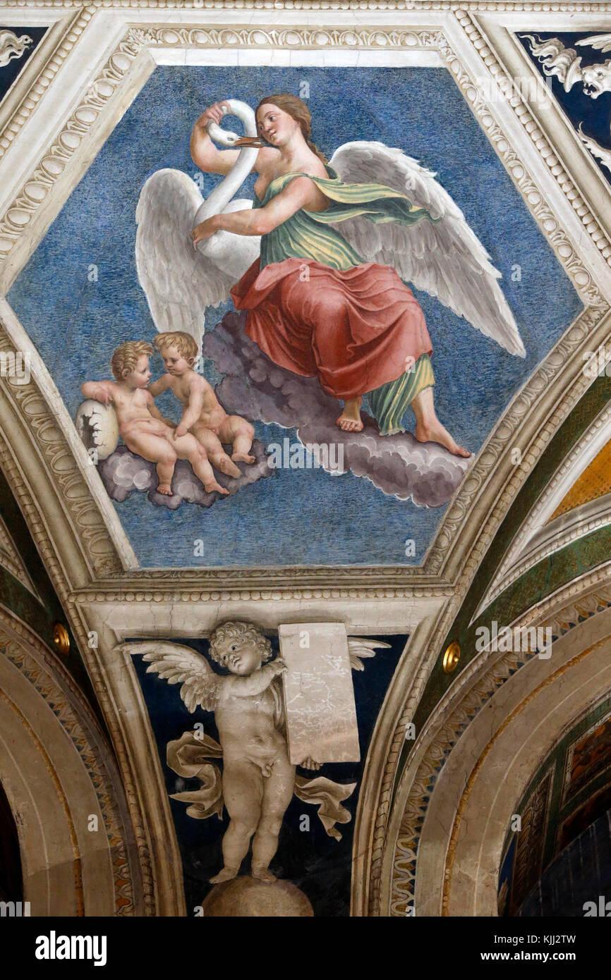 Villa Farnesina a Roma. La Loggia di Galatea. Leda e il cigno. Gemini. L'Italia. Immagini Stock