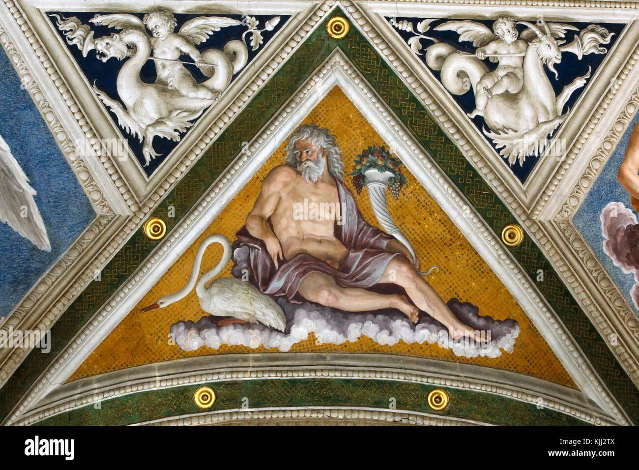 Villa Farnesina a Roma. La Loggia di Galatea. La costellazione di Eridanus. L'Italia. Immagini Stock