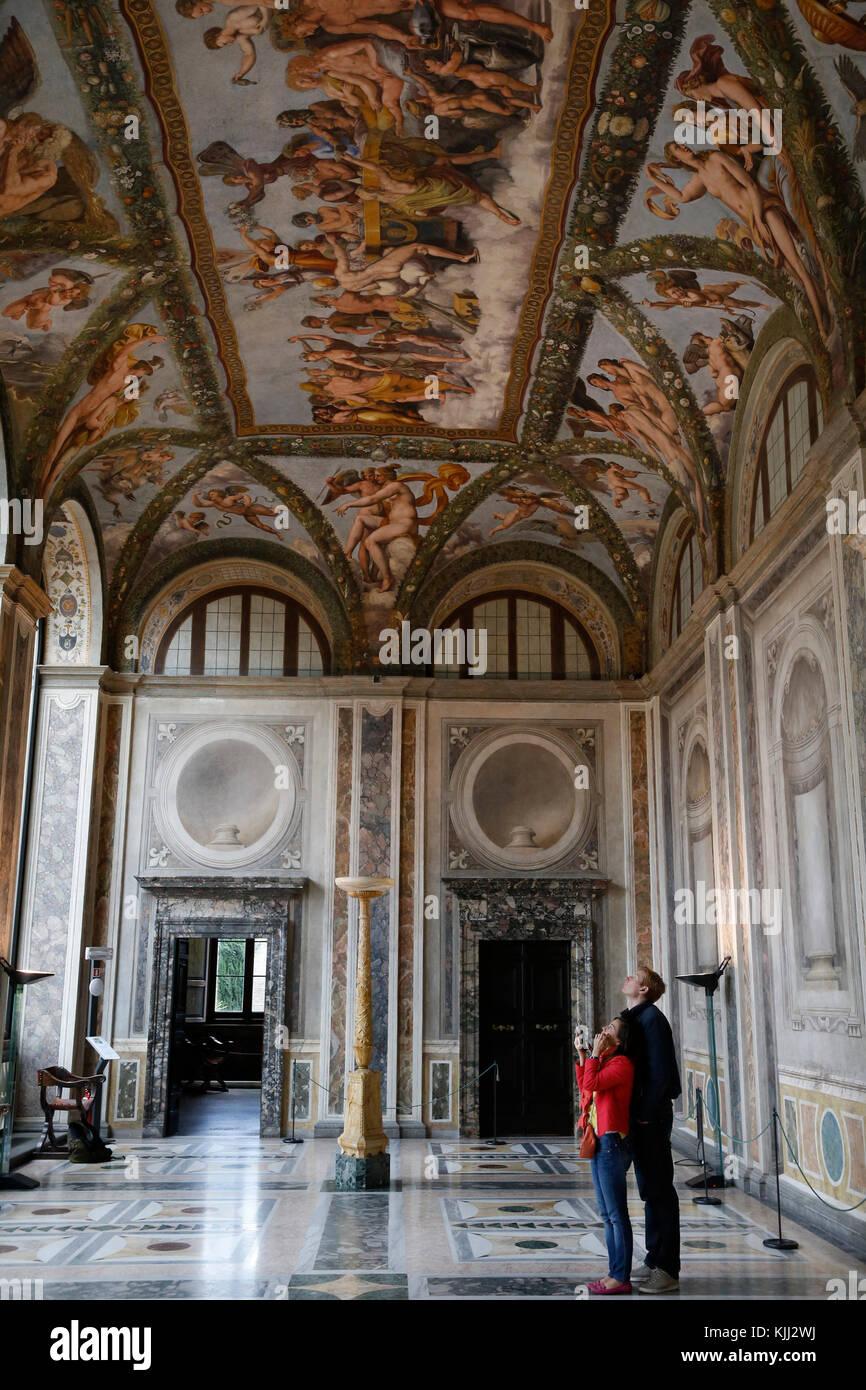 Villa Farnesina a Roma. La Loggia di Amore e Psiche. L'Italia. Foto Stock