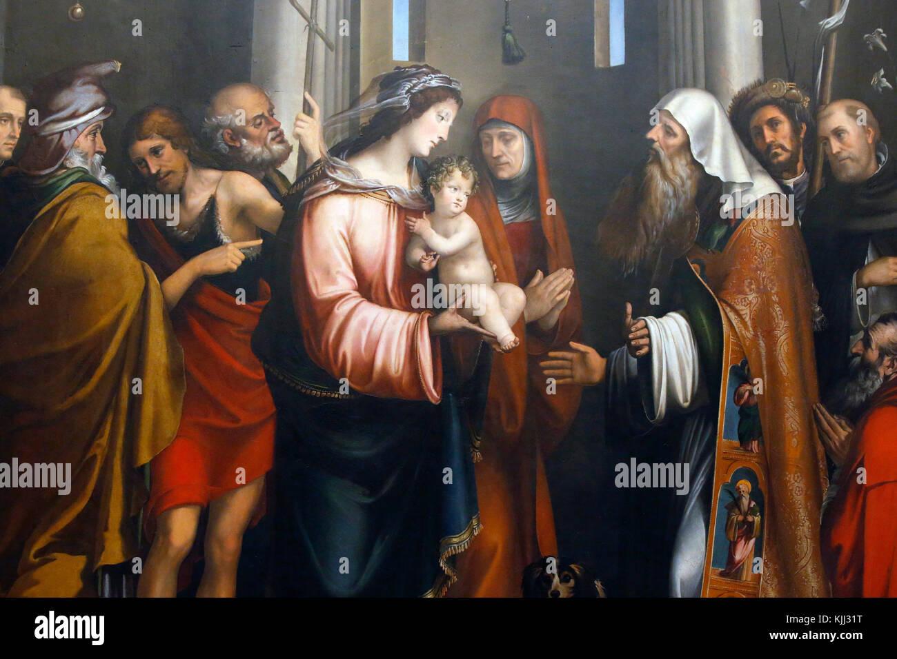 Museo Capitolino, Roma. Francesco Francia, la presentazione di Gesù al tempio, completato c.1580, olio su legno. Immagini Stock