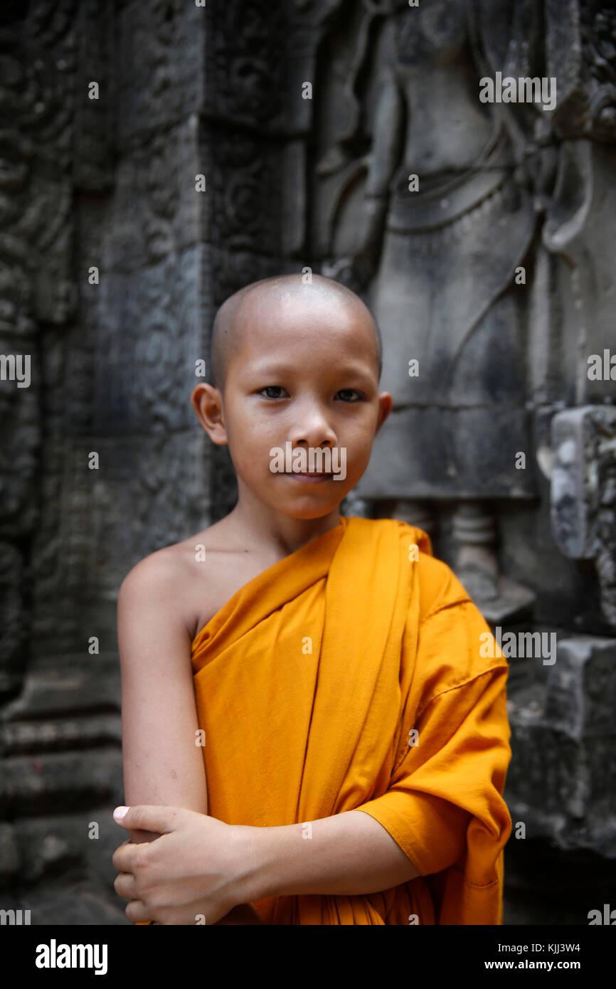 Monaco novizio in Angkor. Cambogia. Immagini Stock