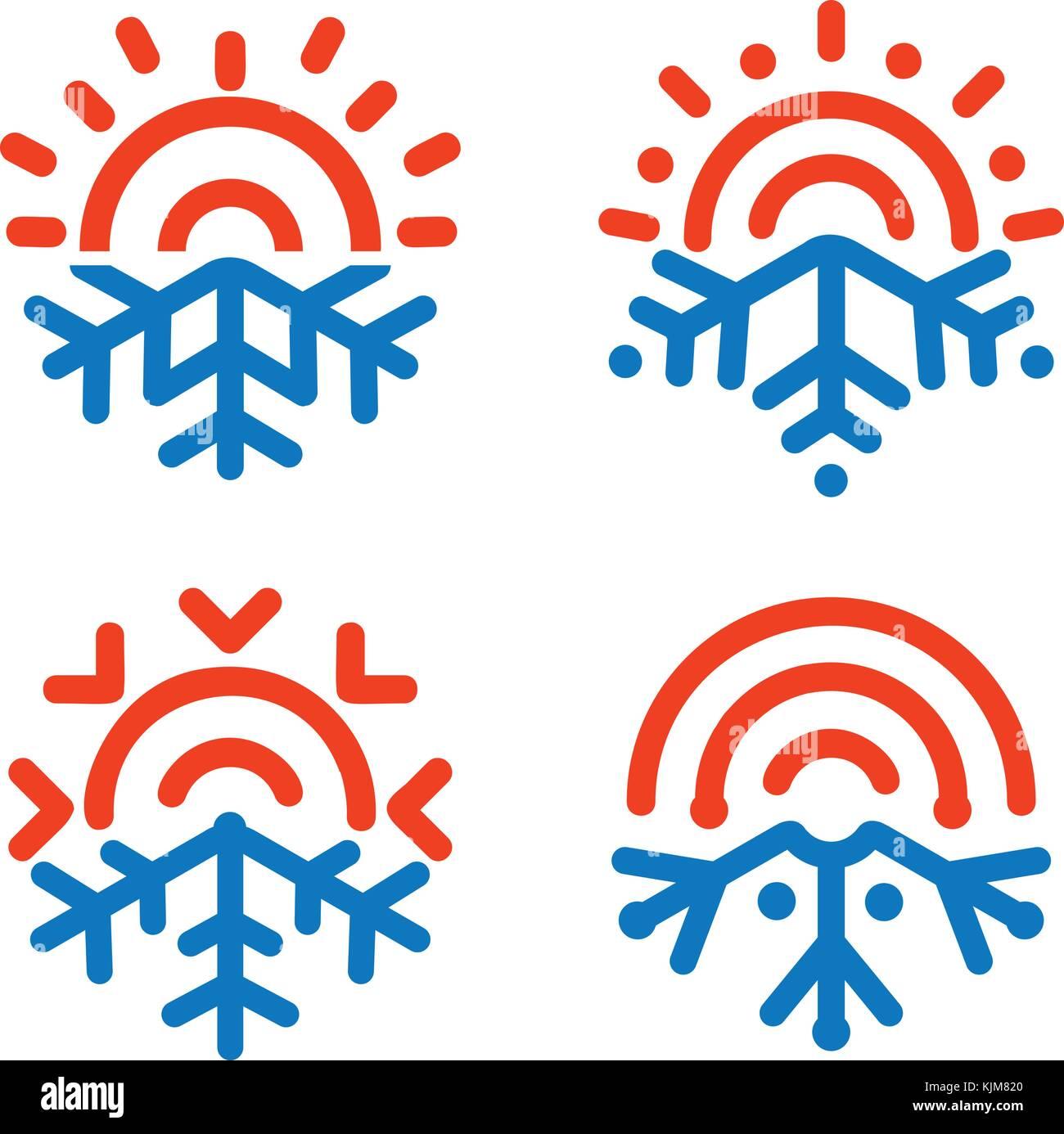 Sun E Il Simbolo Del Fiocco Di Neve Emblemi Meteo