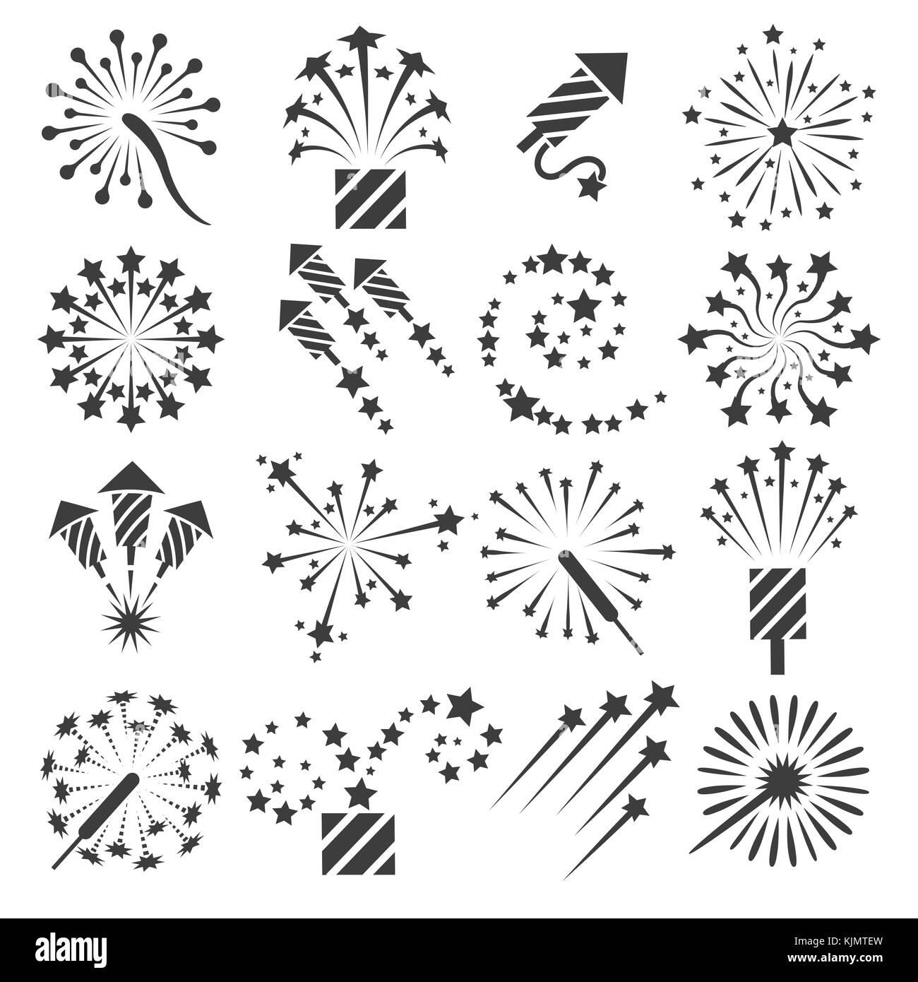 Icone Di Fuochi Dartificio Celebrazione Festa I Fuochi Dartificio