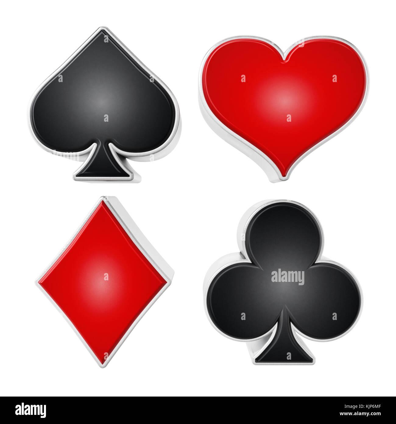 Carta da gioco adatta a simboli isolati su sfondo bianco. 3d'illustrazione. Immagini Stock