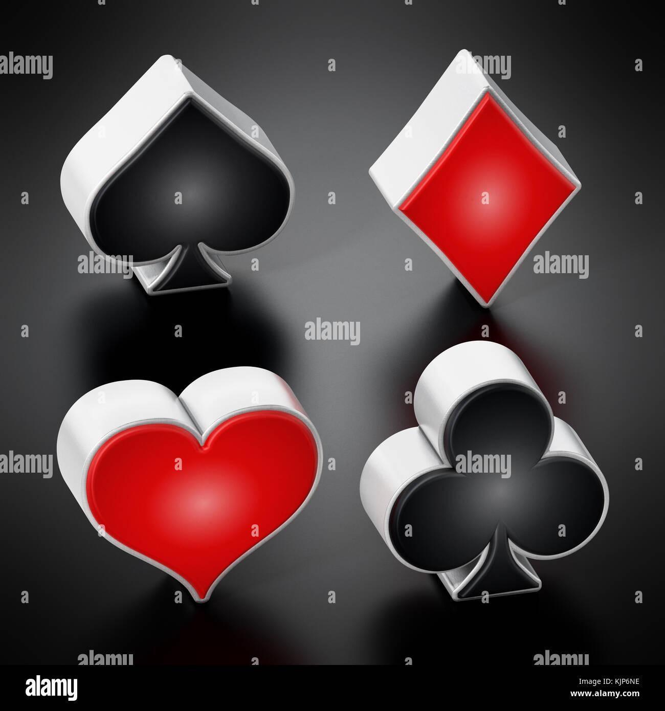 Carta da gioco adatta a simboli in piedi su sfondo nero. 3d'illustrazione. Immagini Stock