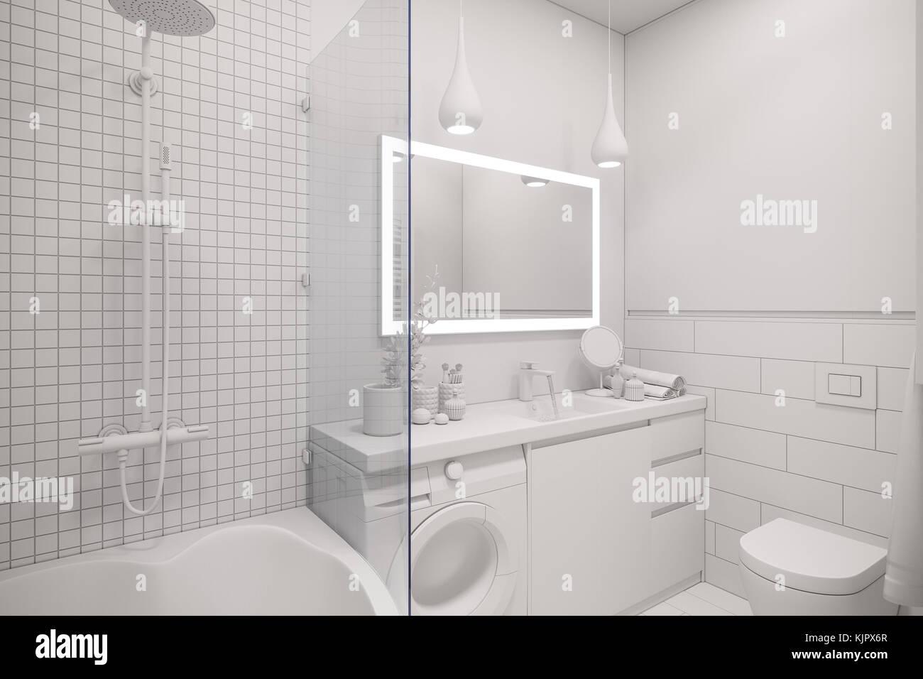 Bagno Design Scandinavo : 3d illustrazione di un interior design di un bianco minimalista