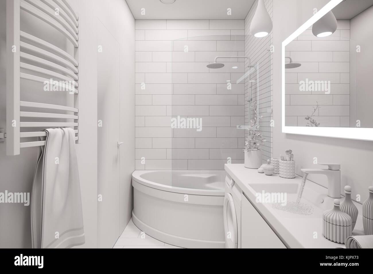 D illustrazione di un interior design di un bianco minimalista