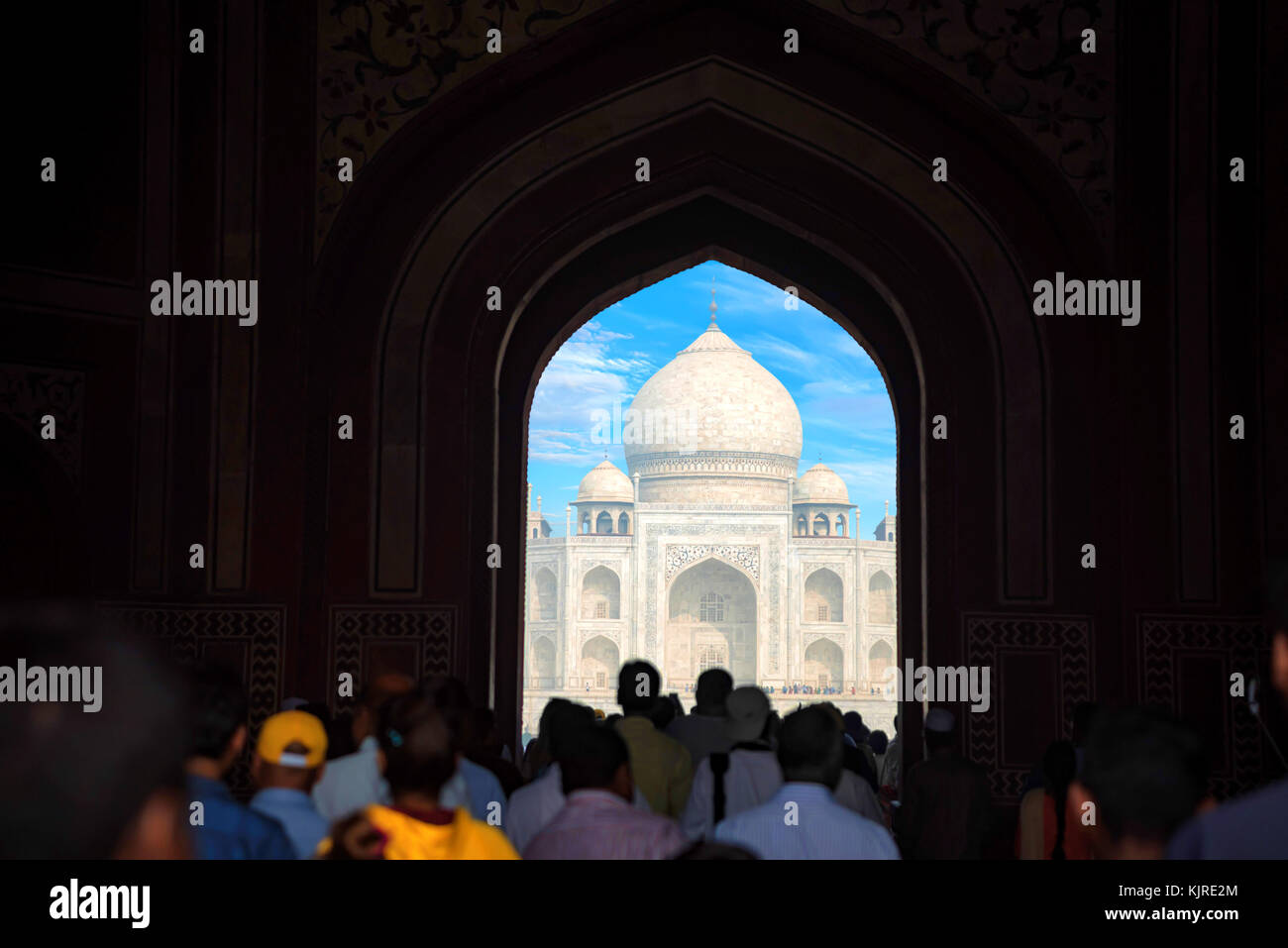Taj Mahal panoramico vista di gate in Agra, India. Immagini Stock