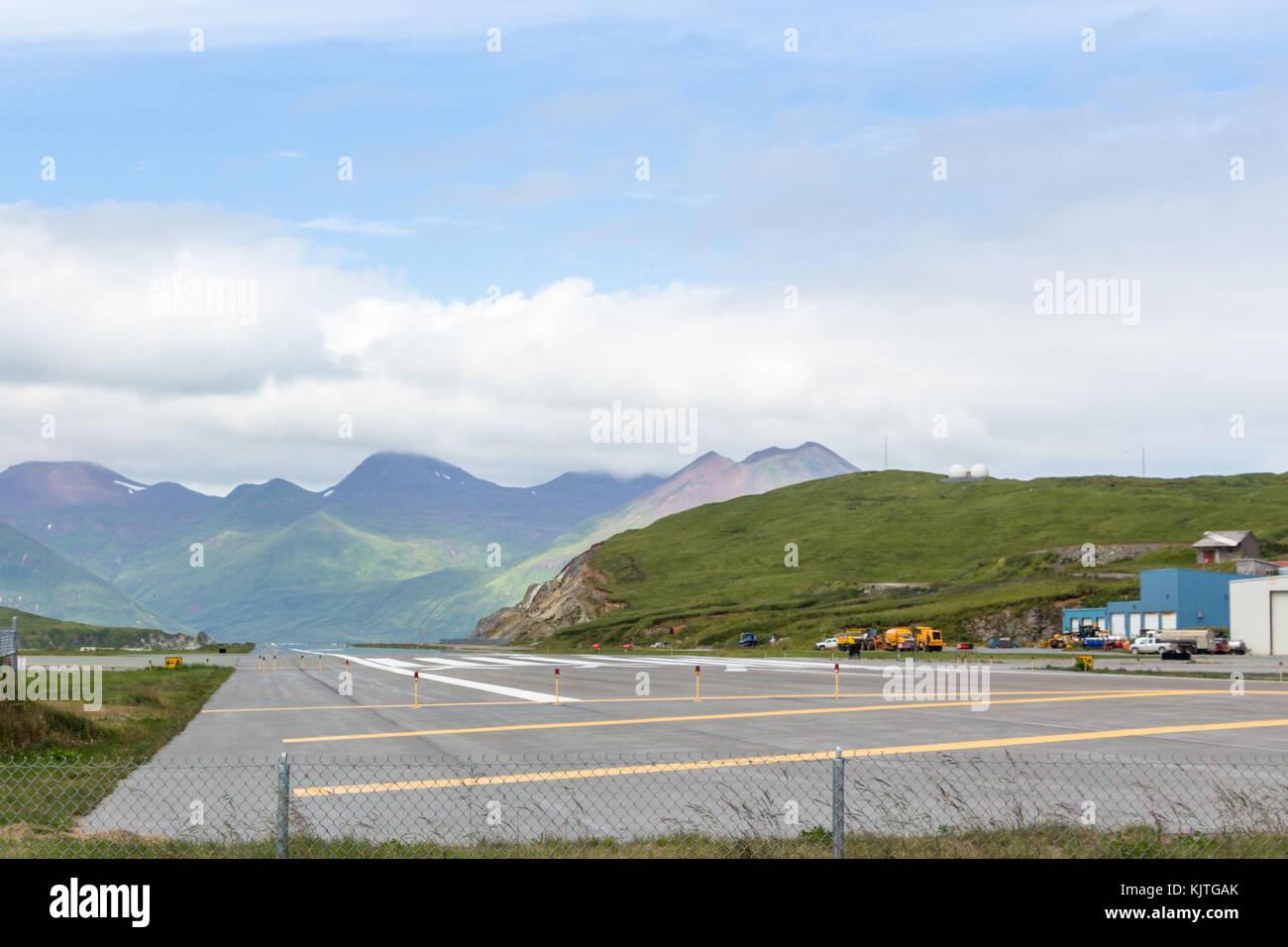 Harbor olandese, unalaska, Alaska, Stati Uniti d'America - agosto 14th, 2017: vista sulla pista del tom masden Immagini Stock