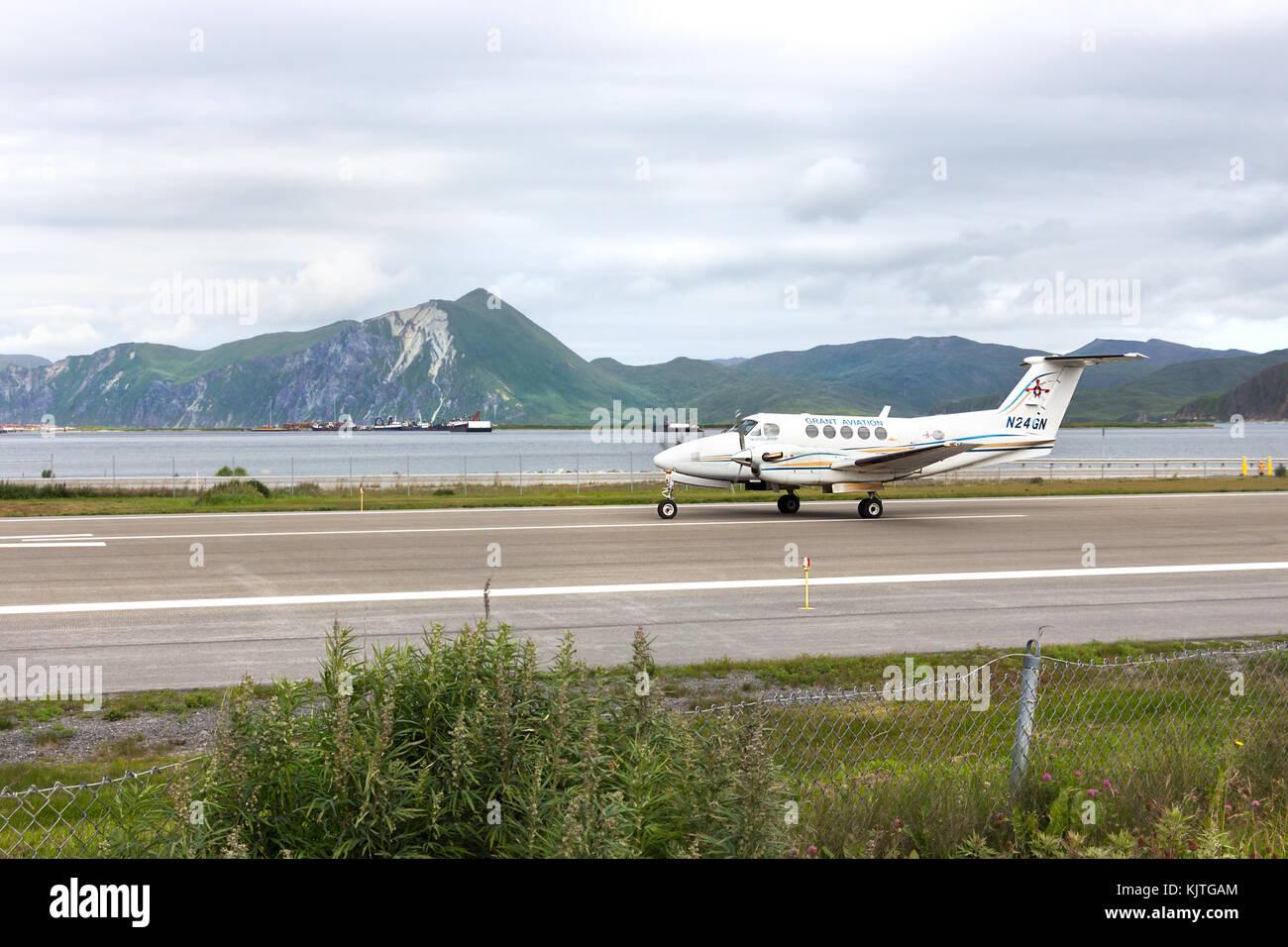 Harbor olandese, unalaska, Alaska, Stati Uniti d'America - agosto 14th, 2017: un faggio king air 200 di grant Immagini Stock