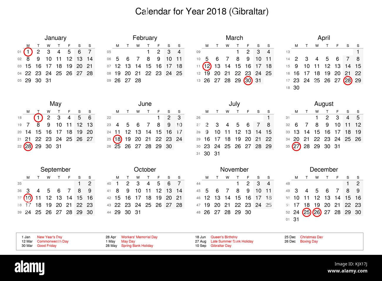 Calendario Con Giorni Festivi.Calendario Dell Anno 2018 Con Giorni Festivi E Giorni