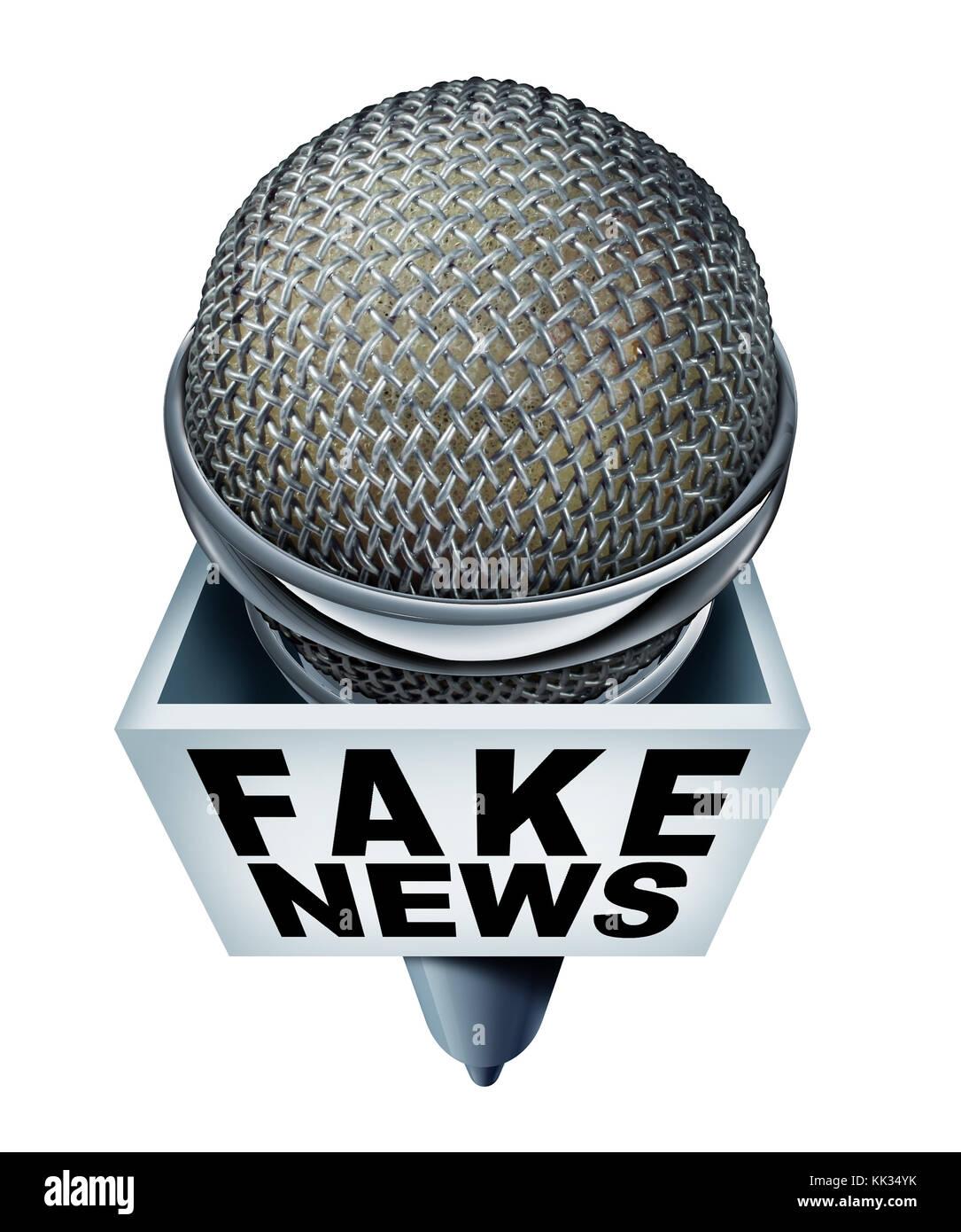 Fake news report concetto e hoax segnalazione giornalistica come un microfono con il testo come falsa media metafora Immagini Stock
