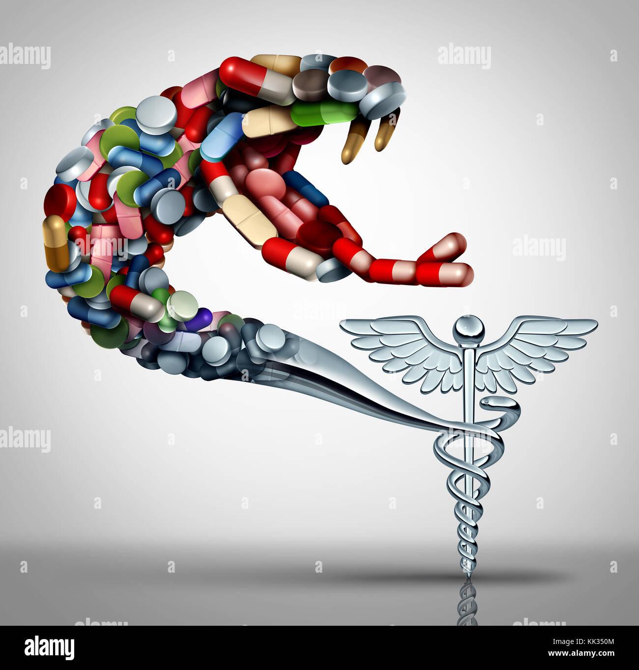 Medicazione di pericolo per la salute e la prescrizione di droga nozione come un problema sociale il simbolo per Immagini Stock