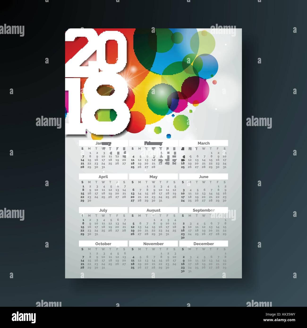 Calendario Con Numero Settimane.Calendario Di Vettore 2018 Illustrazione Del Modello Con
