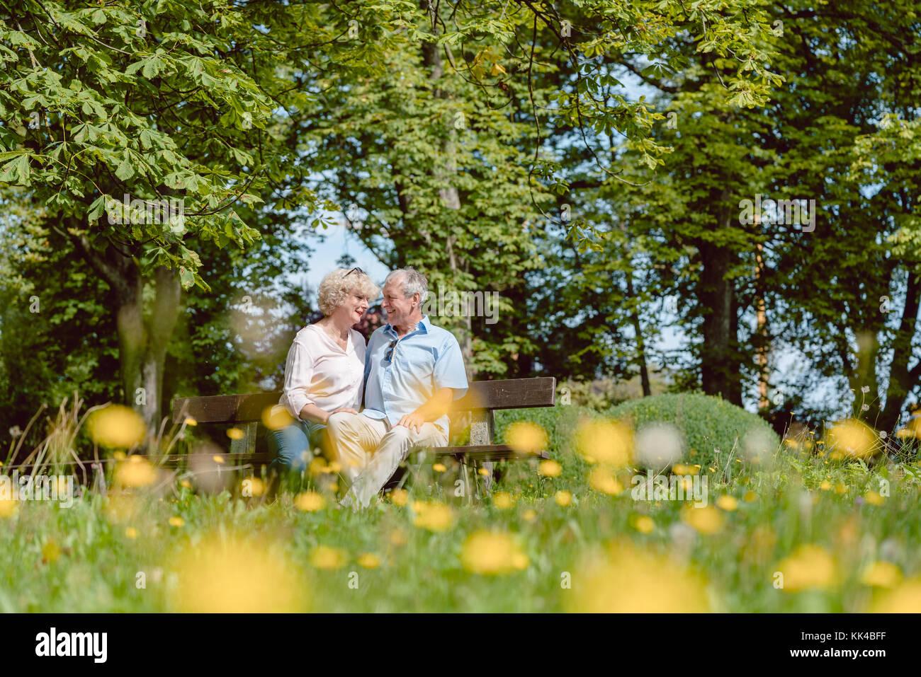 Romantico coppia senior in love dating all'aperto in un idilliaco par Immagini Stock