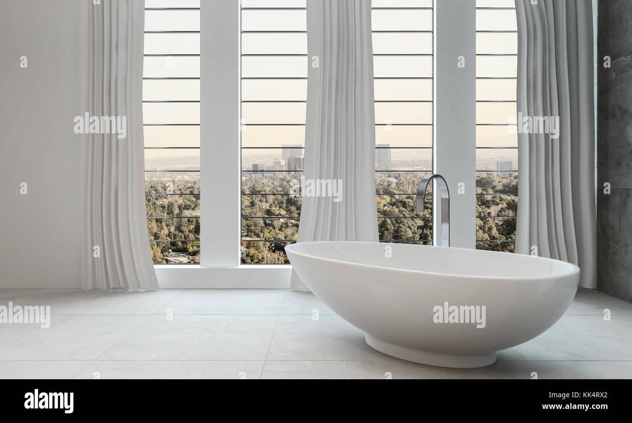 Vasca Da Bagno Di Design Moderno : Bagno moderno e pulito con vasca da bagno e finestre grandi foto
