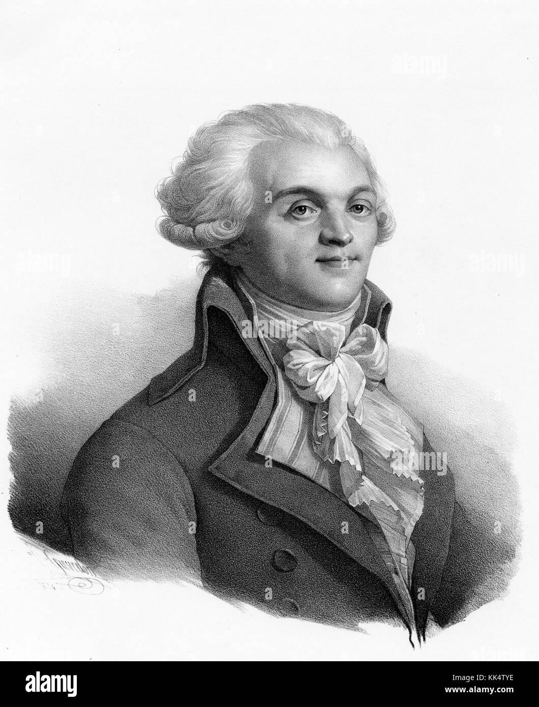 Una incisione da un ritratto di Maximilien Robespierre, egli era un  avvocato francese e del